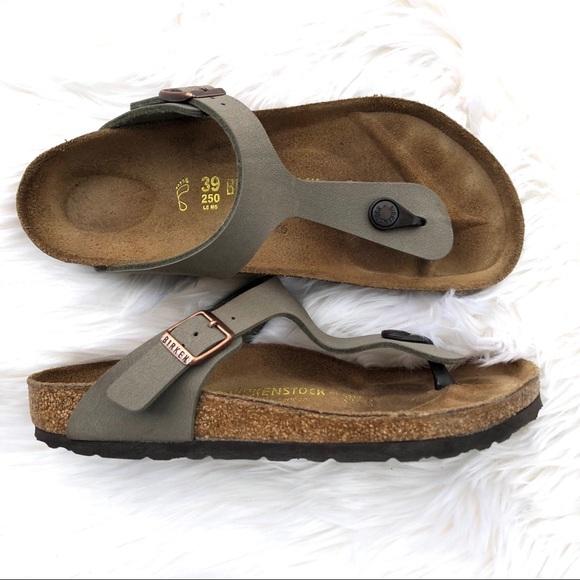 3f86048a582 Birkenstock Shoes - Birkenstock Gizeh Birkibuc Sandal in Stone